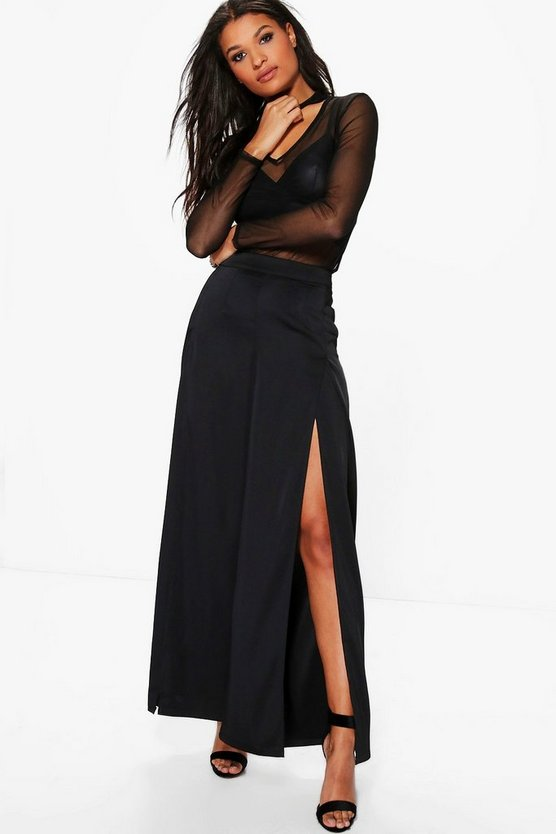Satin Split Front Woven Wide Leg Trousers