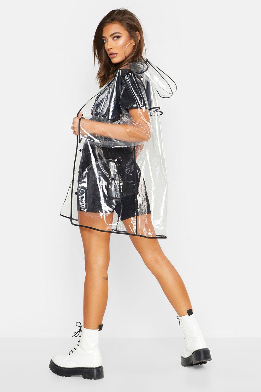 negro costuras transparente con daisy adheridas Impermeable FqOwEXqn
