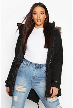 Womens Black Parka With Faux Fur Trim Hood