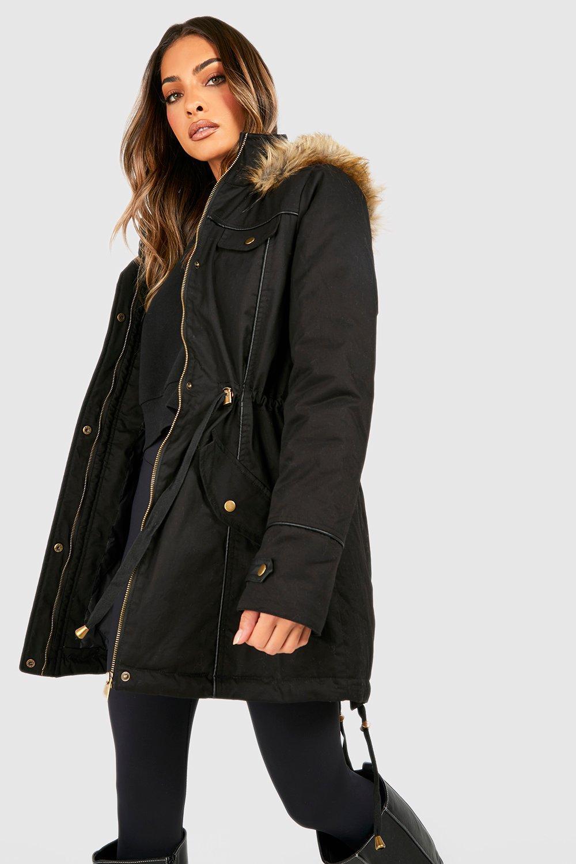 Fur Womens Trim Hood Faux Boohoo With Blackblack Parka fIPqOU