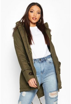 Womens Khaki Parka With Faux Fur Trim Hood