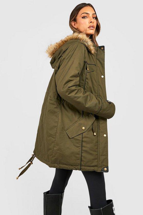 Parka With Faux Fur Trim Hood