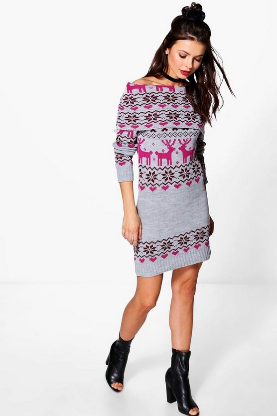 Reindeer Fairisle Christmas Jumper Dress