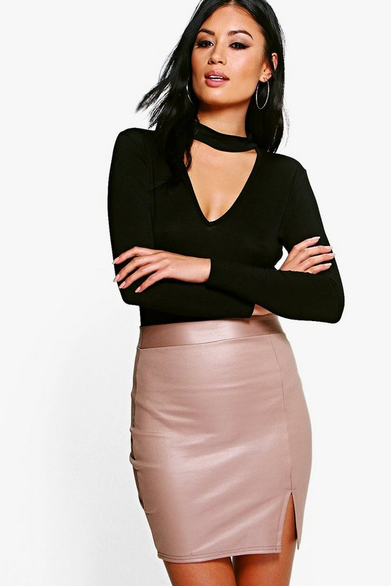 Livia Wet Look Scuba Mini Skirt