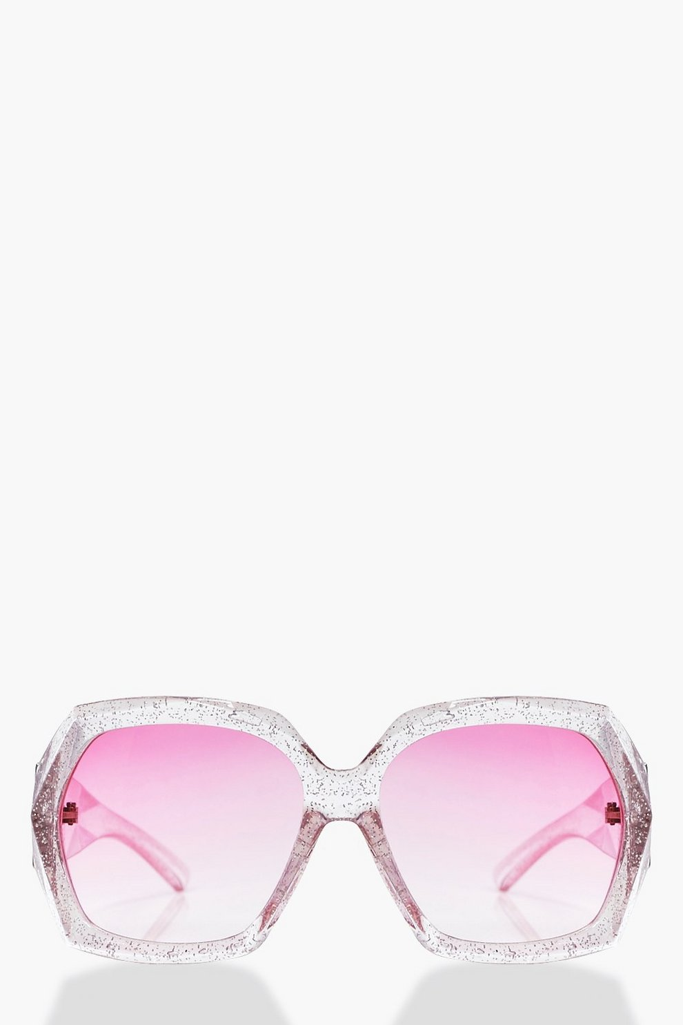 Lacey Glitter Clear Frame Oversized Fashion Glasses | Boohoo