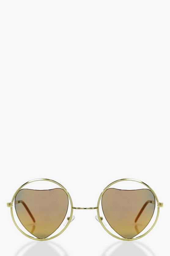 Ellie Heart Cut Out Revo Lense Sunglasses