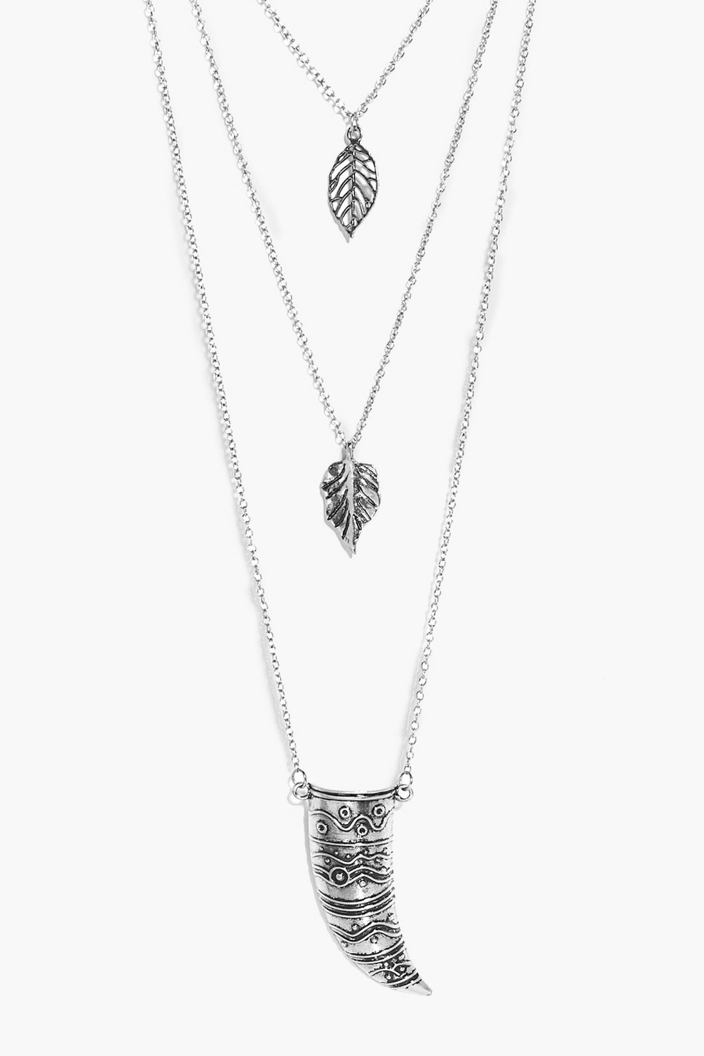 016554674dc7fa Eve Leaf And Horn Pendant Layered Necklace   Boohoo