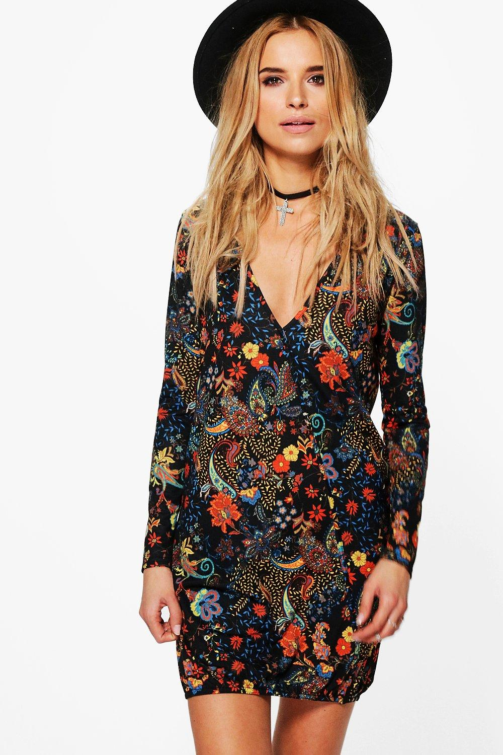 boohoo dillon robe chemise cache c ur motif cachemire pour femme ebay. Black Bedroom Furniture Sets. Home Design Ideas