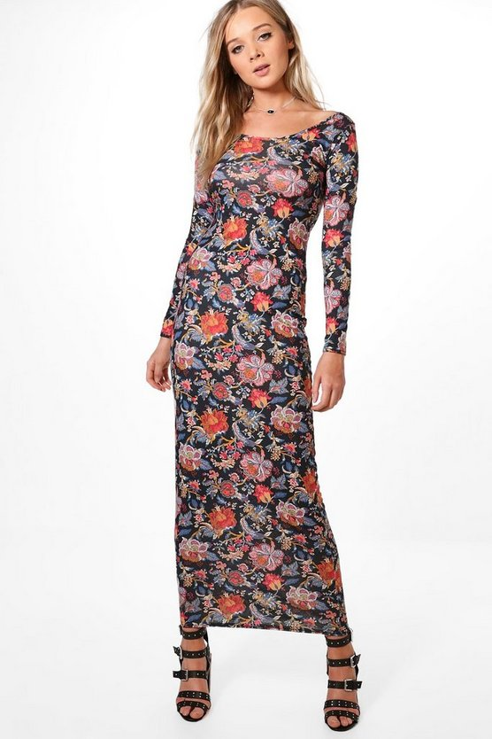 Kavitha Printed Long Sleeve Maxi Dress