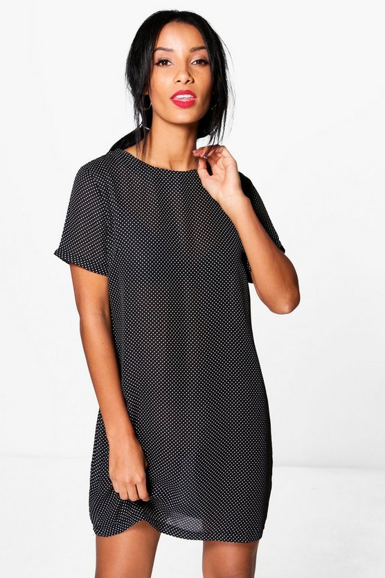 Ailani Micro Polka Dot Shift Dress