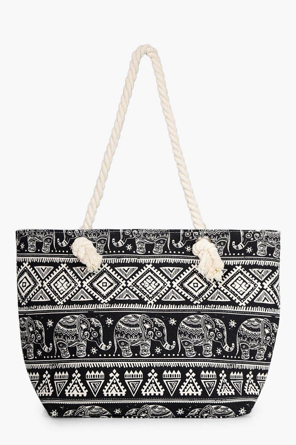 b8e5dcc2d58d Tilly Elephant Aztec Print Beach Bag   Boohoo