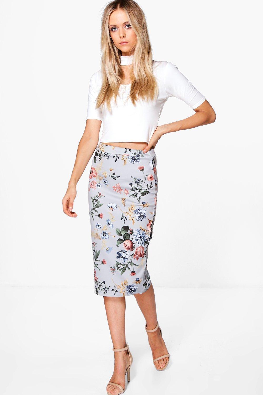 74378e27f982f Sophie Floral Scuba Midi Skirt | Boohoo