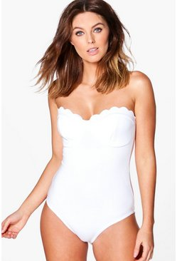 Womens White Scallop Edge Bandeau Bodysuit