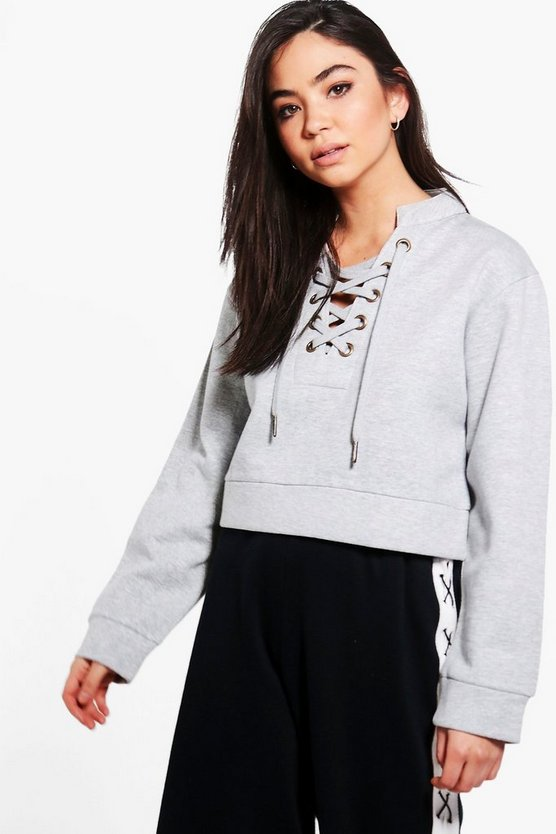 Womens Grey marl Rima Lace Up Crop Sweatshirt