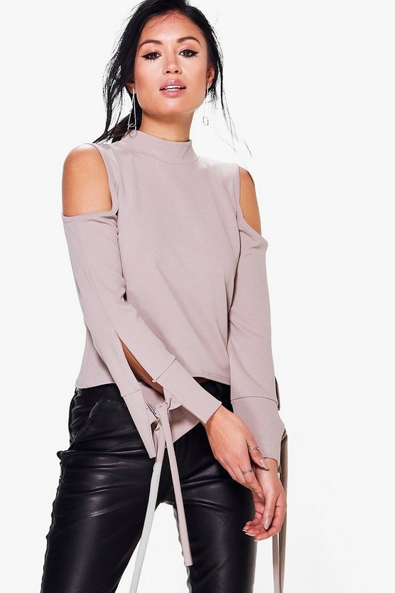 Grace Cold Shoulder Tie Sleeve Top