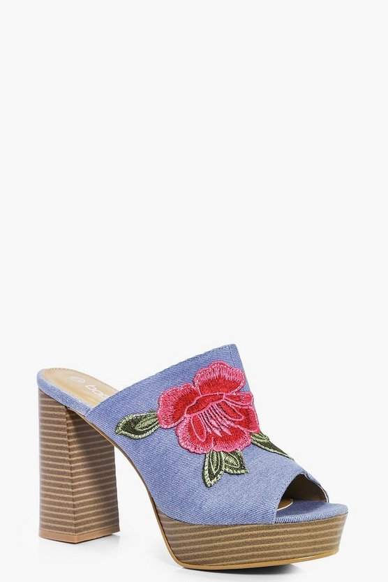 Jess Denim Floral Embroidered Mules