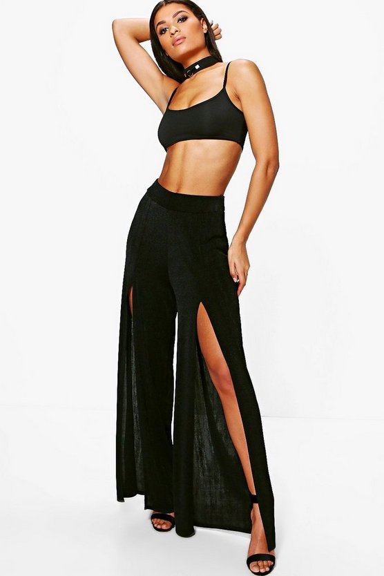 Avah Thigh Split Slinky Wide Leg Trousers
