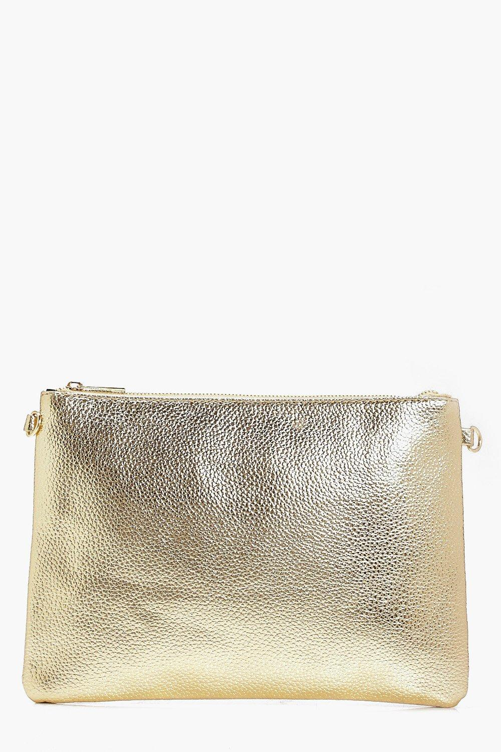 93d20d7976 Molly Metallic Zip Top Clutch Bag | Boohoo