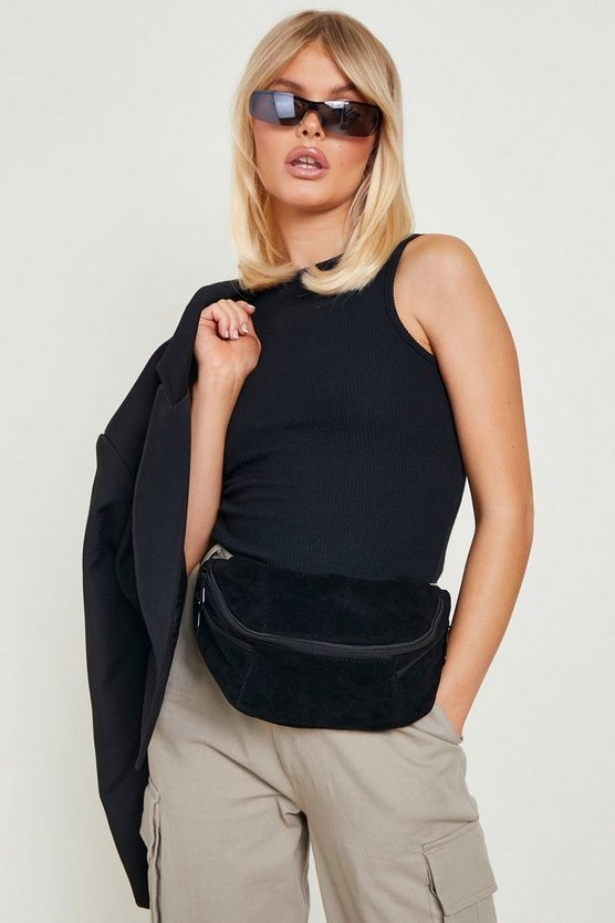 Womens Black Oversized Suedette Bumbag