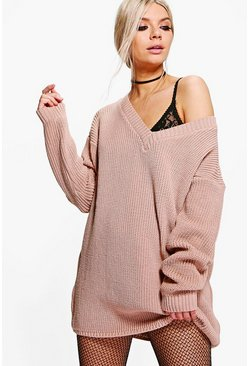 Womens Nude Rib V-Neck Jumper Dress