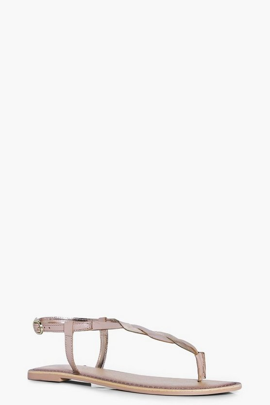 Lara Twisted Thong Leather Sandal
