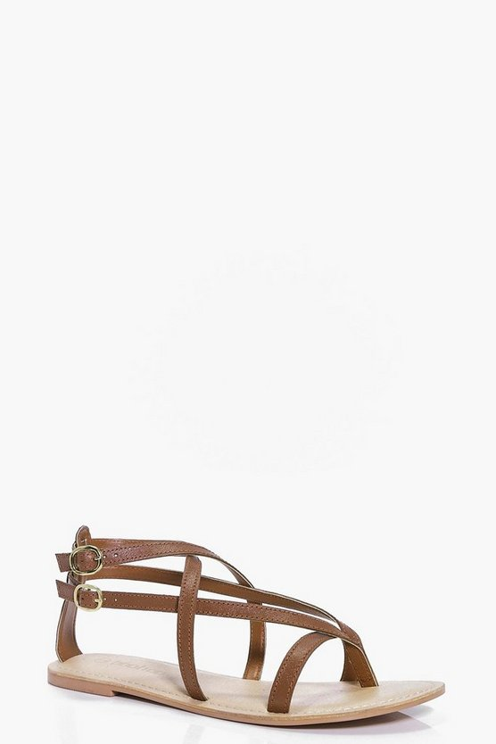 Leather Thong Wrap Strap Sandals