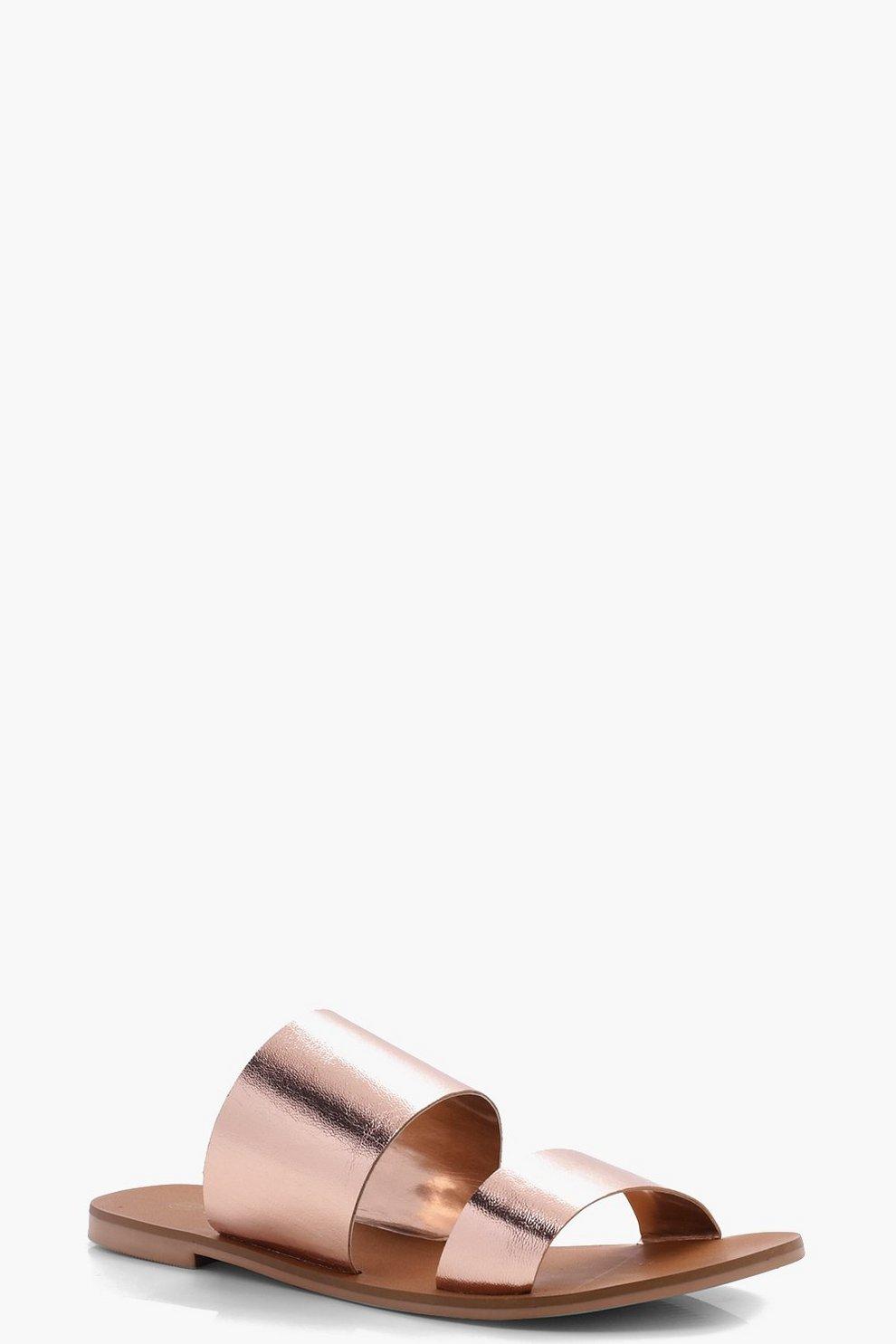 8e5126fba352 Leather Double Strap Sliders