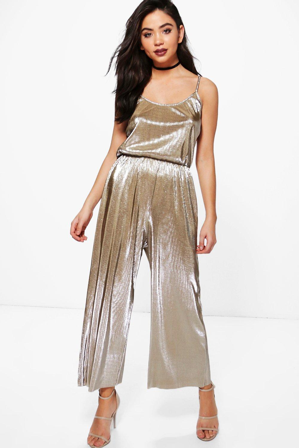 b5afaa5b7a Ana Crinkle Metallic Strappy Culotte Jumpsuit. Hover to zoom