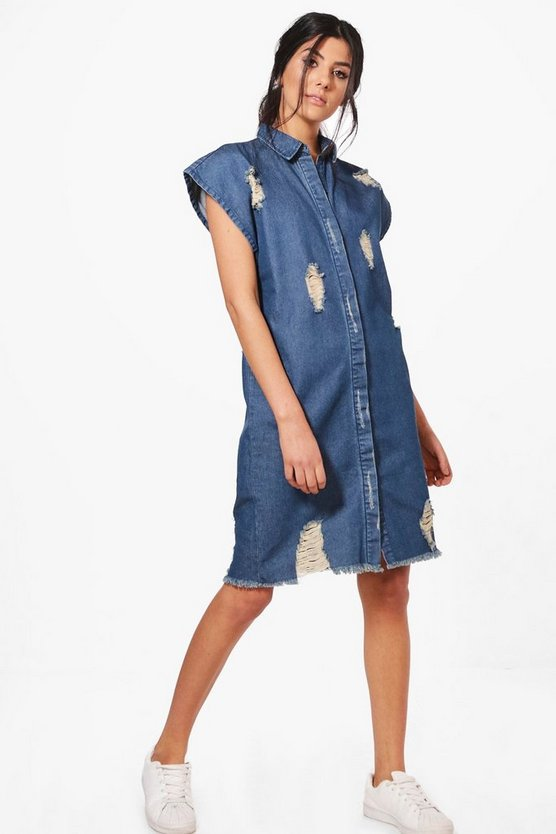 Heidi Oversize Short Sleeve Denim Shirt Dress