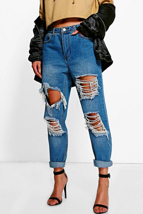 Womens Mid blue Distressed Low Rise Boyfriend Jeans