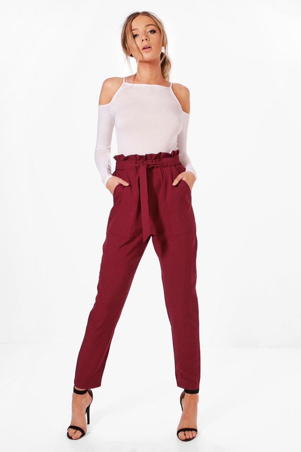 045c1bba8954 Violet Premium Paper Bag Waist Belted Trouser | Boohoo