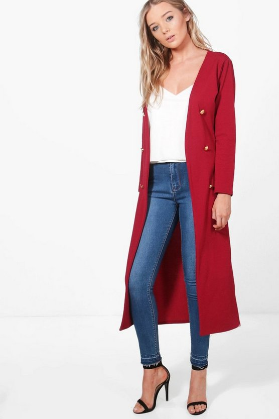 Button Front Longline Duster Jacket