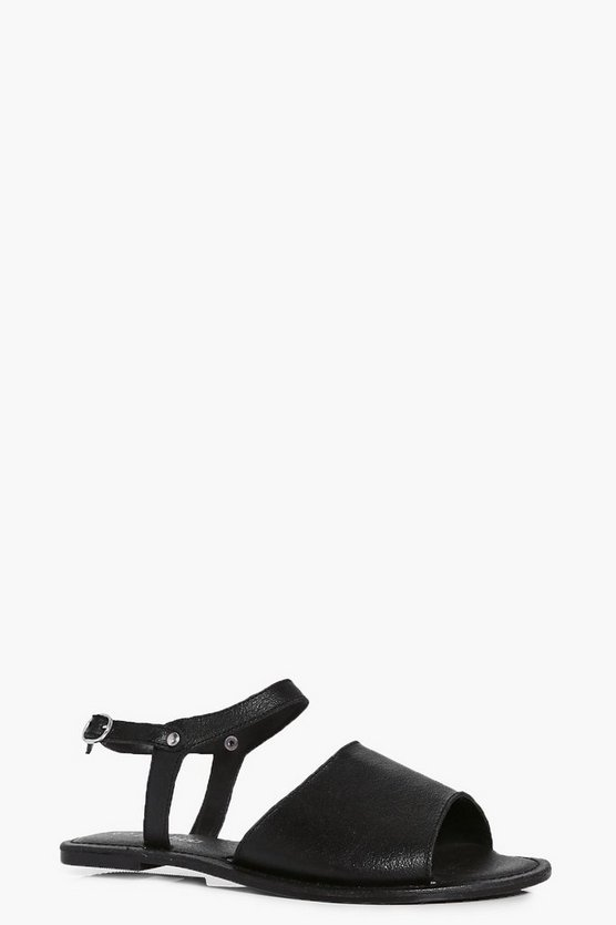 Violet Peeptoe Ankle Strap Leather Flat Mule Sandals