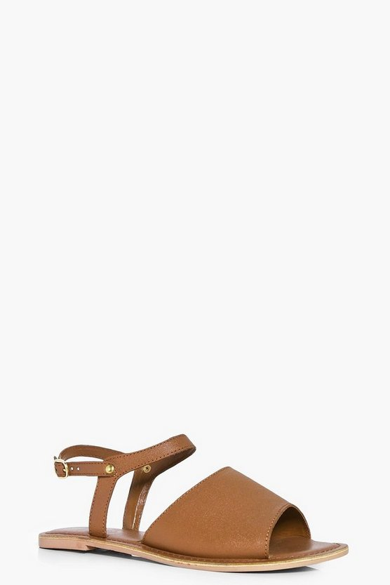 Womens Tan Peeptoe Ankle Strap Leather Flat Mule Sandals