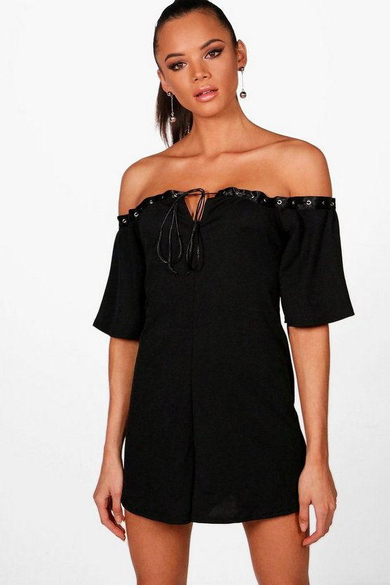 Ria Off the Shoulder Tie Neck Swing Playsuit