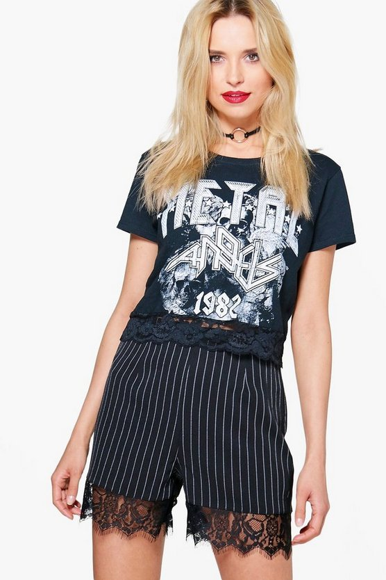 Helena Pinstripe Lace Trim Shorts