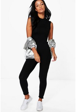 Womens Black Basic High Neck Unitard