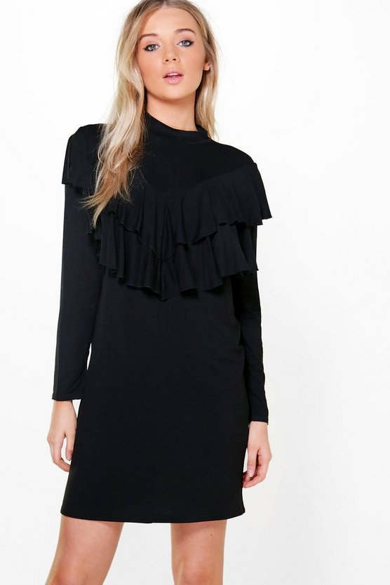 Tamara Double Ruffle Layer Shift Dress