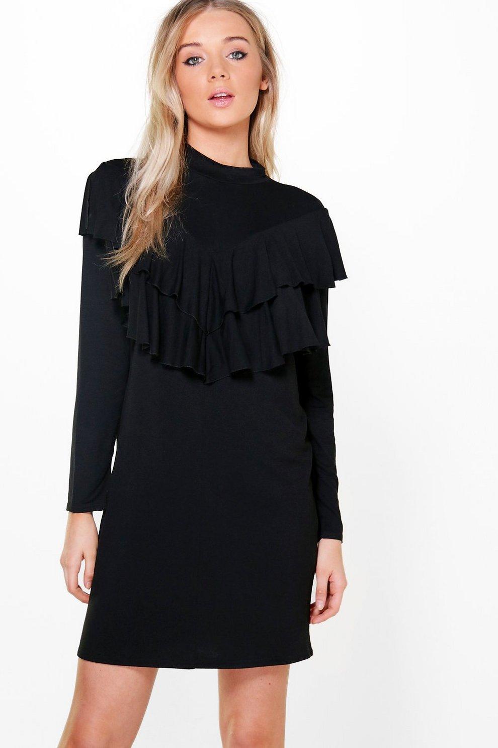 39657e17564a Womens Black Tamara Double Ruffle Layer Shift Dress