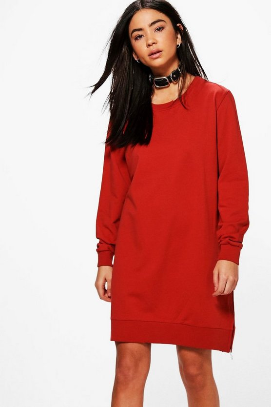 Taylor Zip Distressed Edge Sweat Dress