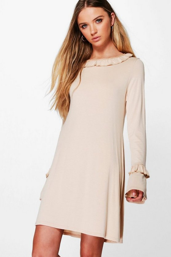 Stacey Ruffle Sleeve and Collar Shift Dress