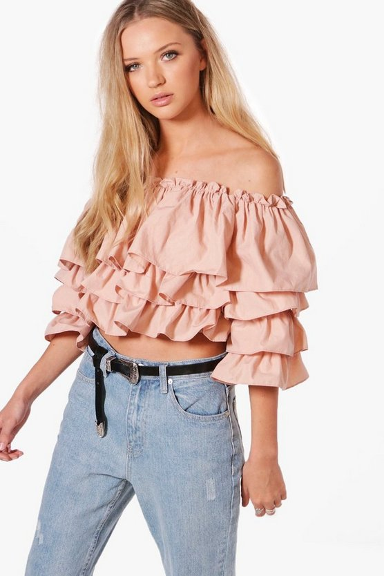 Womens Abigail Off The Shoulder Ruffle Top