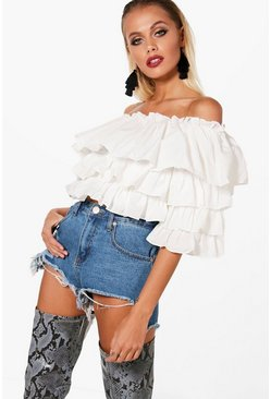 Womens Ivory Abigail Off The Shoulder Ruffle Top