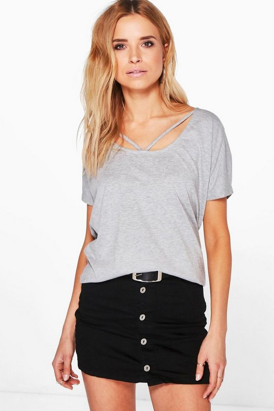 Womens Grey marl Strappy Neck Jersey T-Shirt