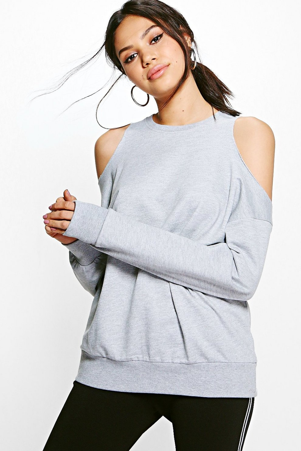 dd7cba612e5 Esme Extreme Cold Shoulder Sweat Shirt. Womens Grey marl Esme Extreme Cold  Shoulder Sweat Shirt. Hover to zoom