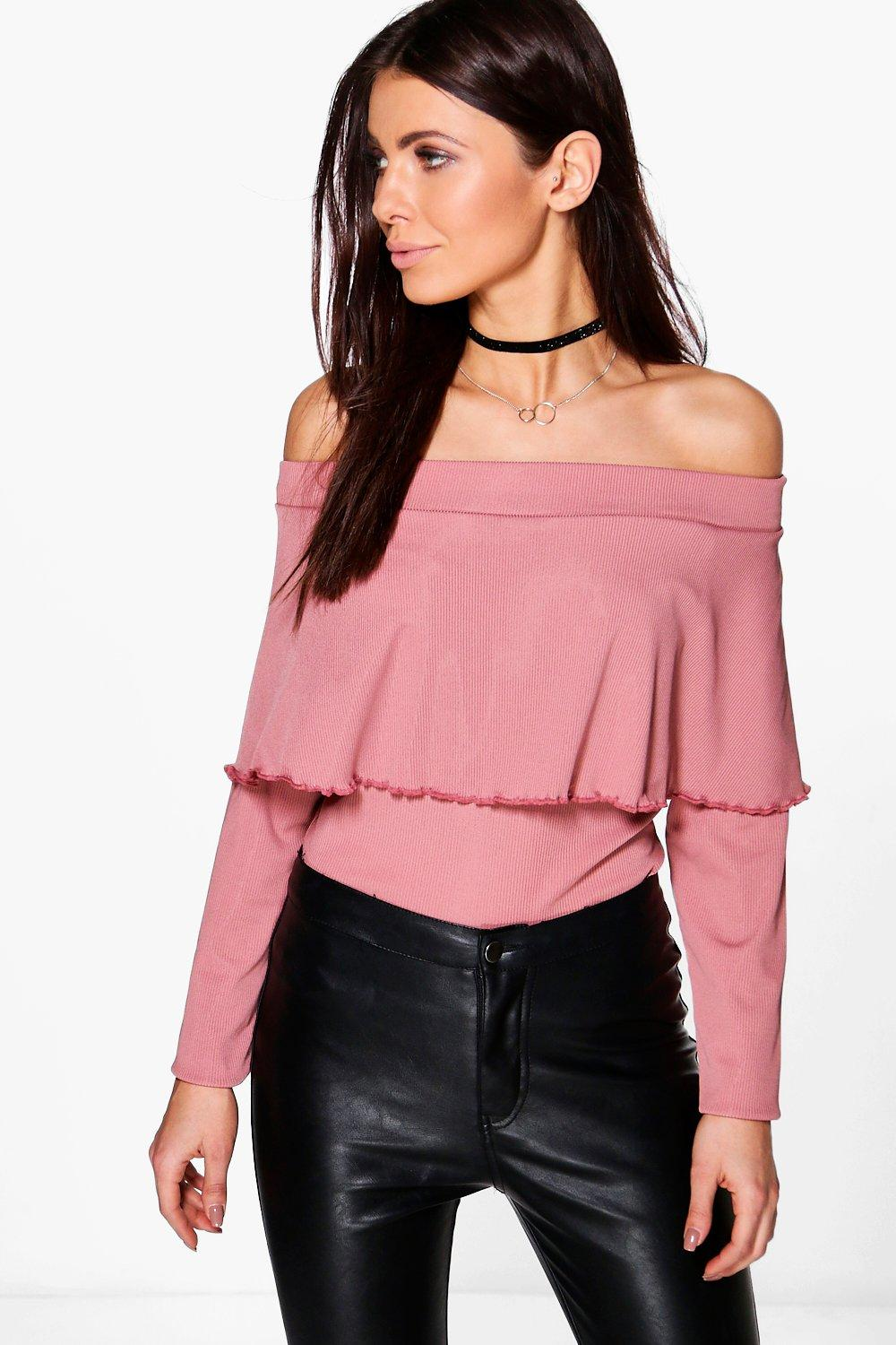 7a230bbbb67 Womens Rose pink Roxanne Ribbed Long Sleeve Bardot Top
