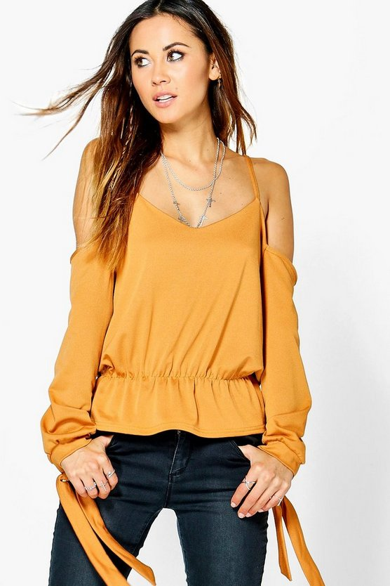 Rosaleen Cold Shoulder Tie Sleeve Top
