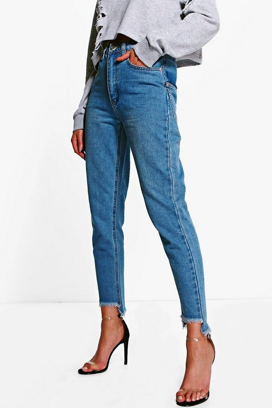 Displaced Pocket Step Hem Mom Jeans