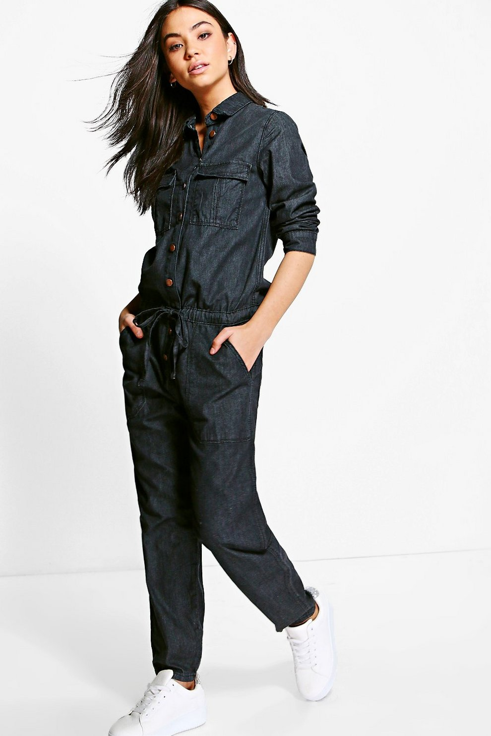 6af0732efa87 Sofia Denim Tie Waist Boilersuit
