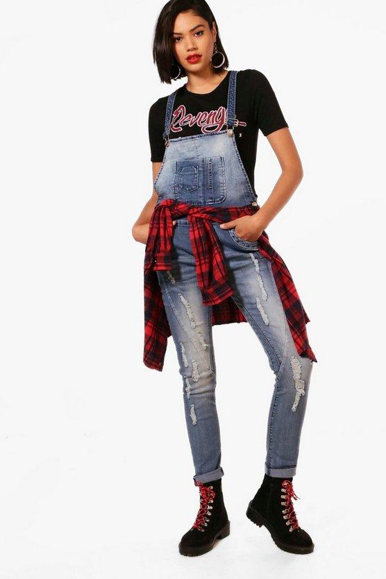Distressed Skinny Dungarees
